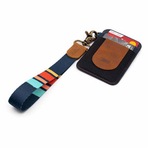 Navy blue red stripe patterned wrist Lanyard with brown navy slim keychain wallet