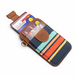 Credit card holder pull tab function navy orange blue front pocket with credit cards