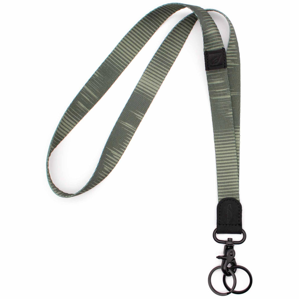 Neck lanyard green striped design black leather hardware metal clasp with 2 key rings