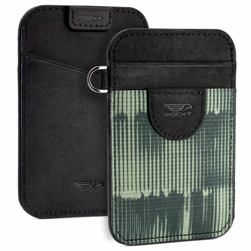 Elastic card holder wallet black leather green front pocket