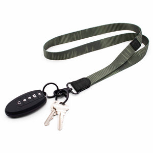 Green neck lanyard striped pattern with keys and car key
