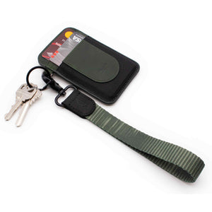Green wrist keychain striped pattern with keys green slim wallet