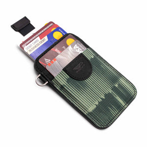 Credit card holder pull tab function green front pocket black leather with credit cards