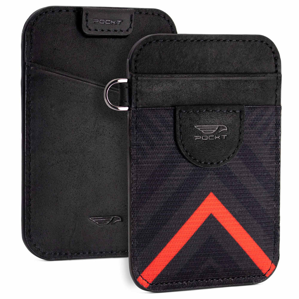 Elastic card holder wallet black leather black and red front pocket