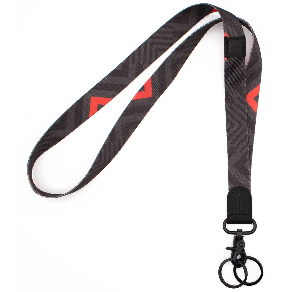 Neck lanyard black and red chevron pattern black leather hardware metal clasp with 2 key rings