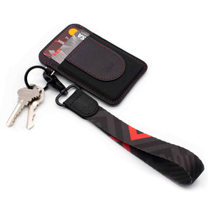 Black red hand chevron pattern strap lanyard with slim black wallet with keys