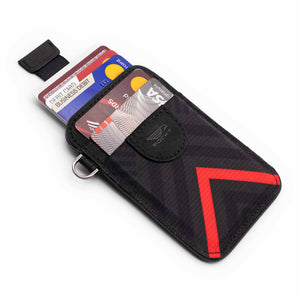 Credit card holder pull tab function black and red front pocket with credit cards
