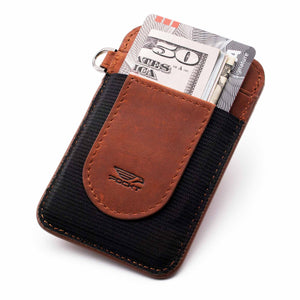 Slim cognac brown credit card holder displaying money credit cards on the front pocket
