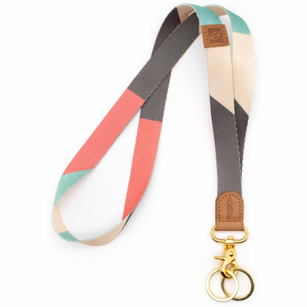 Neck lanyard pink mint gray cream colors brown leather hardware gold metal clasp with 2 key rings
