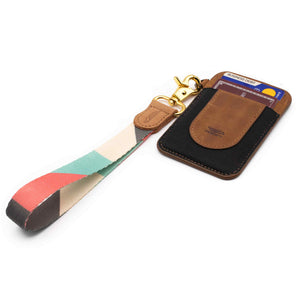 Multi color hand wrist lanyard pink mint cream gray colors with keys and slim keychain wallet