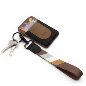 Multi color hand strap lanyard brown blue cream colors with keys and slim wallet
