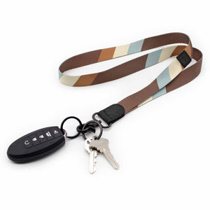 Multi color neck lanyard brown blue cream colors with keys and car key