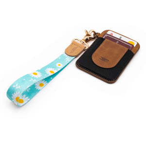 Blue white yellow daisy patterned wrist Lanyard with brown slim keychain wallet
