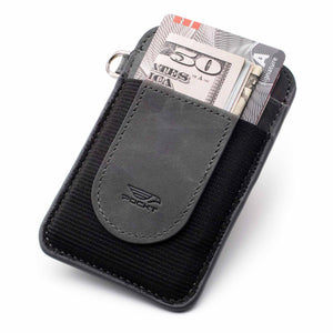 Slim gray credit card holder displaying money credit cards on the front pocket