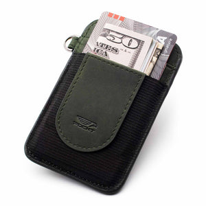 Slim green credit card holder displaying money credit cards on the front pocket