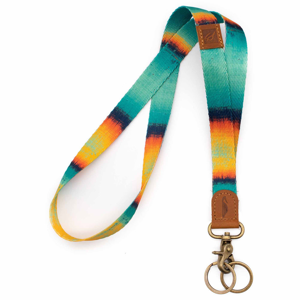 Neck lanyard mint orange navy color brown leather hardware vintage metal clasp with 2 key rings