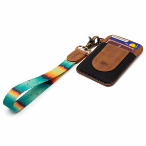 Multi color wrist lanyard mint blue orange colors with keys and slim wallet