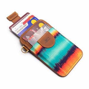 Credit card holder pull tab function mint blue orange front pocket with credit cards