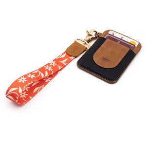 Orange creme floral patterned wrist Lanyard with brown slim keychain wallet
