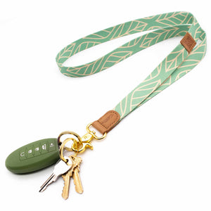 Leaves patterned mint color neck lanyard with keys and car key
