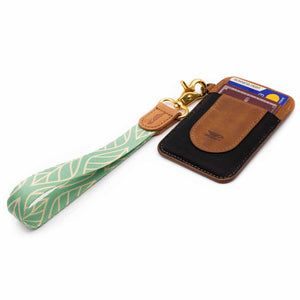 Leaves patterned mint color wrist strap lanyard with keys and slim wallet