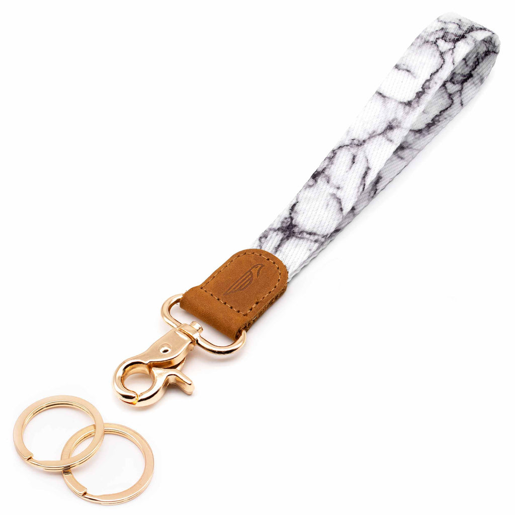 Wrist lanyard black white marble design brown leather hardware gold metal clasp with 2 key rings