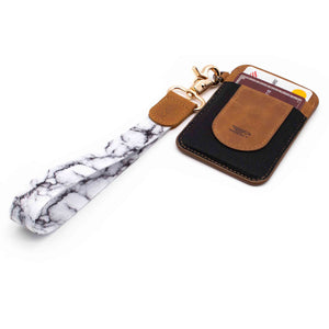 White black marble patterned wrist Lanyard with brown slim keychain wallet
