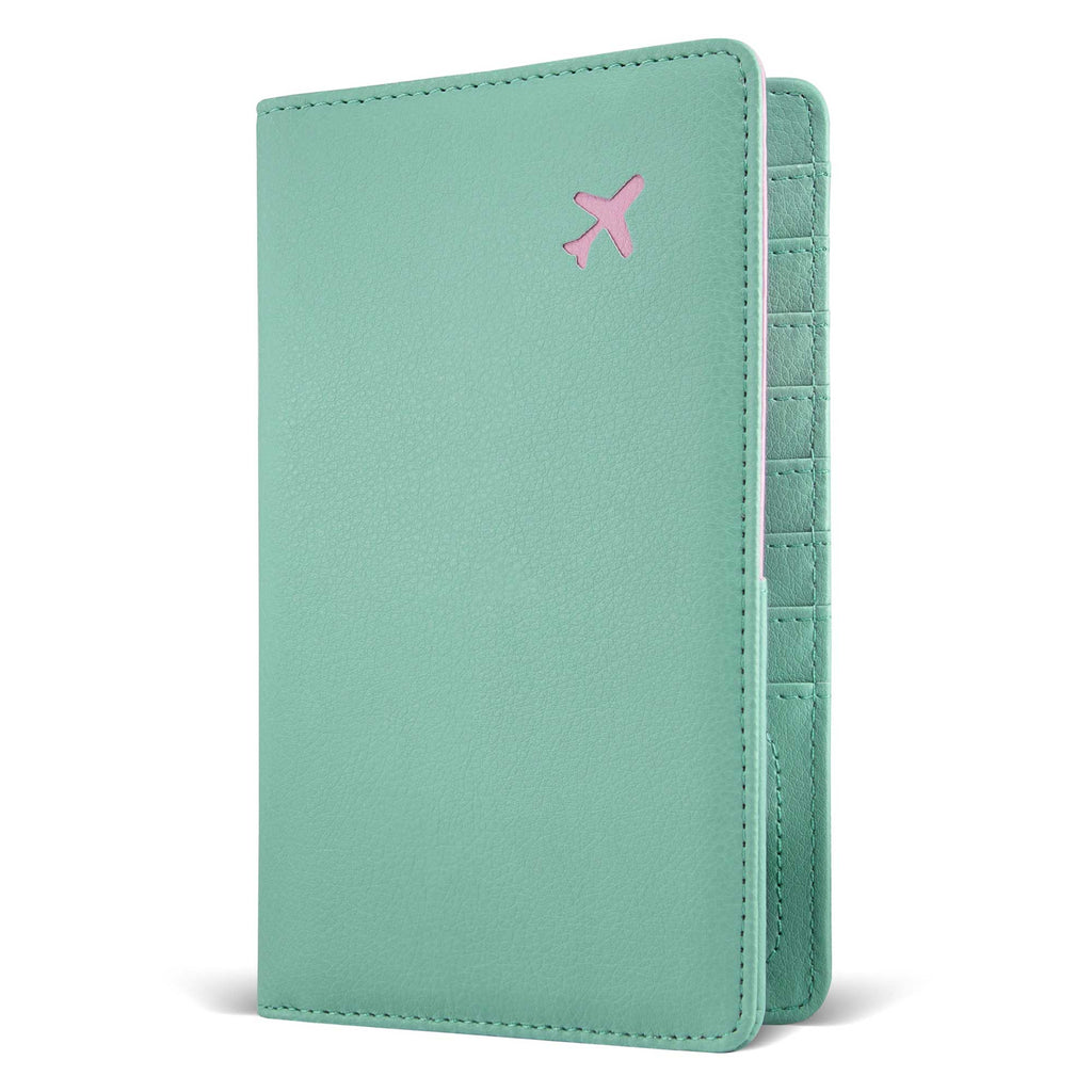 Mint blue leather multiple passport holder with pink plain shape on the front vertical travel wallet
