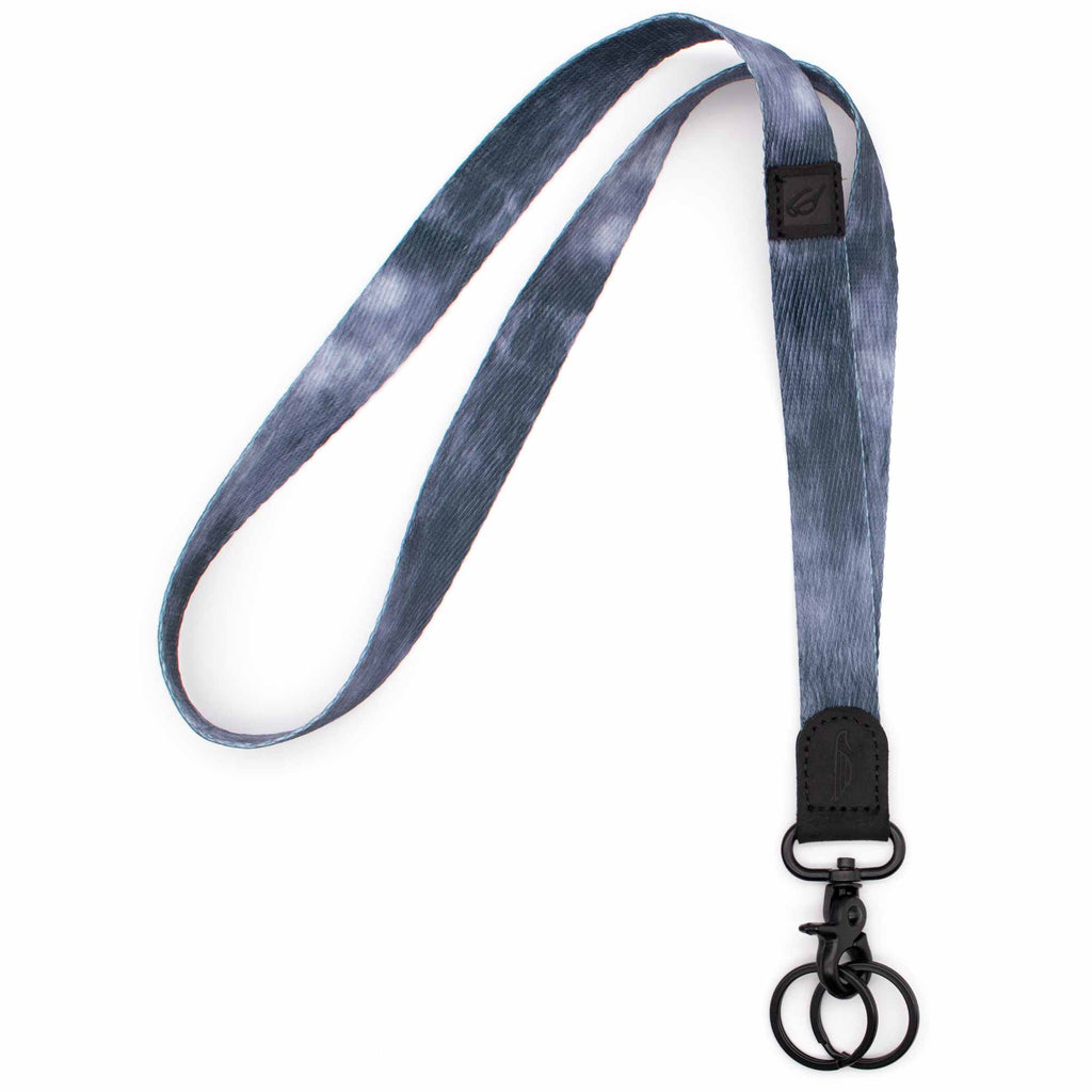 Neck lanyard midnight navy blue design black leather hardware black metal clasp with 2 key rings