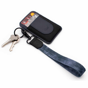 Midnight navy hand wrist lanyard metal clasp with keys and slim navy wallet