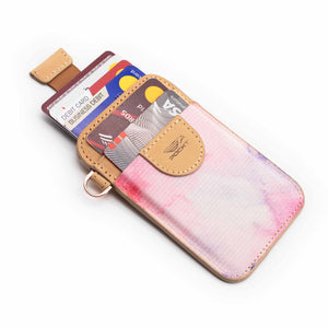 Credit card holder pull tab function pink front pocket with credit cards