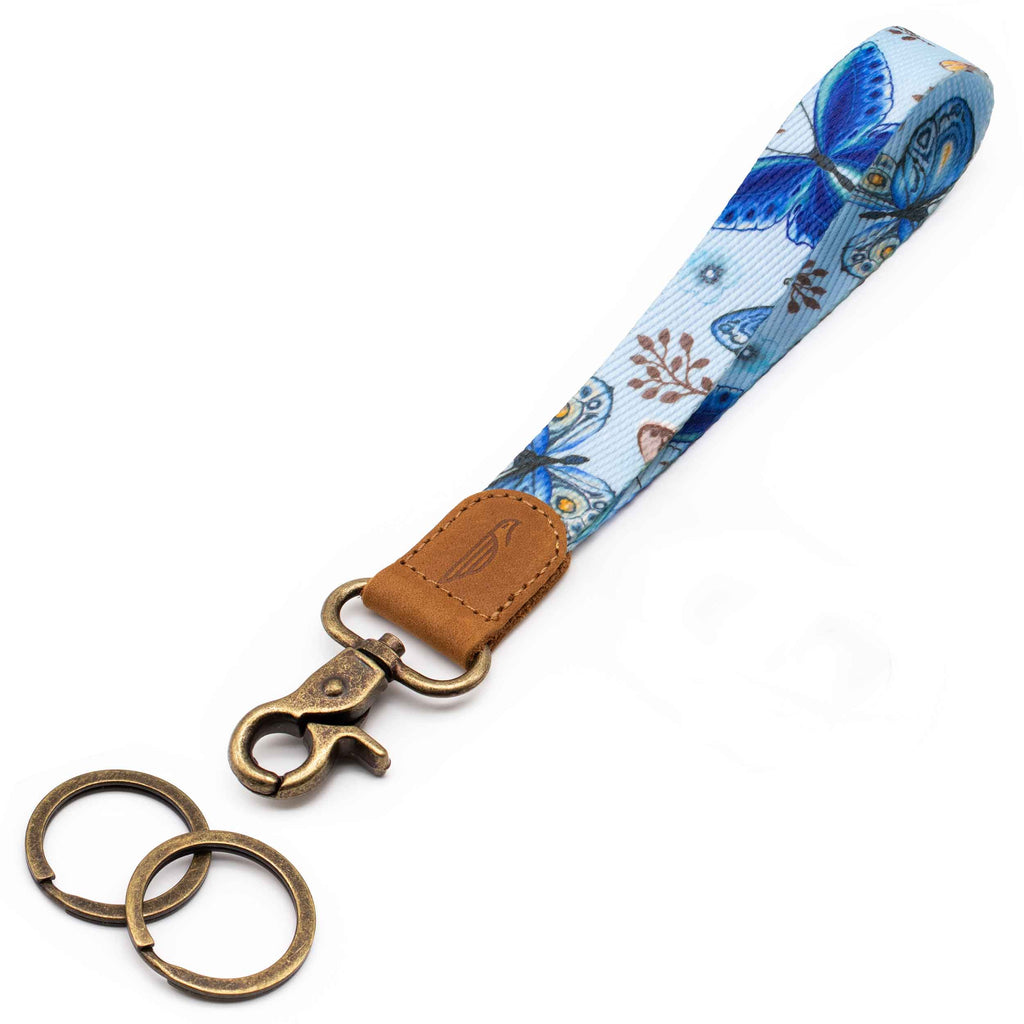 Wrist lanyard blue floral butterfly design brown leather hardware vintage metal clasp with 2 key rings