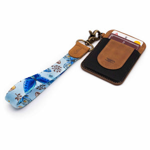 Blue floral butterfly patterned wrist Lanyard with brown slim keychain wallet