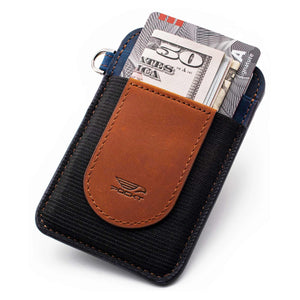 Slim brown navy credit card holder displaying money credit cards on the front pocket