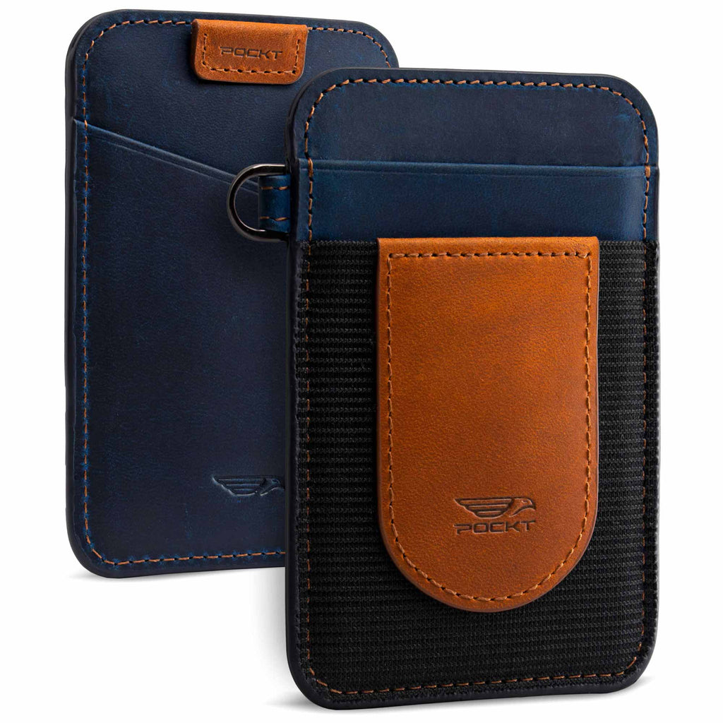 Genuine leather elastic wallet for men brown navy vertical slim design view front and back