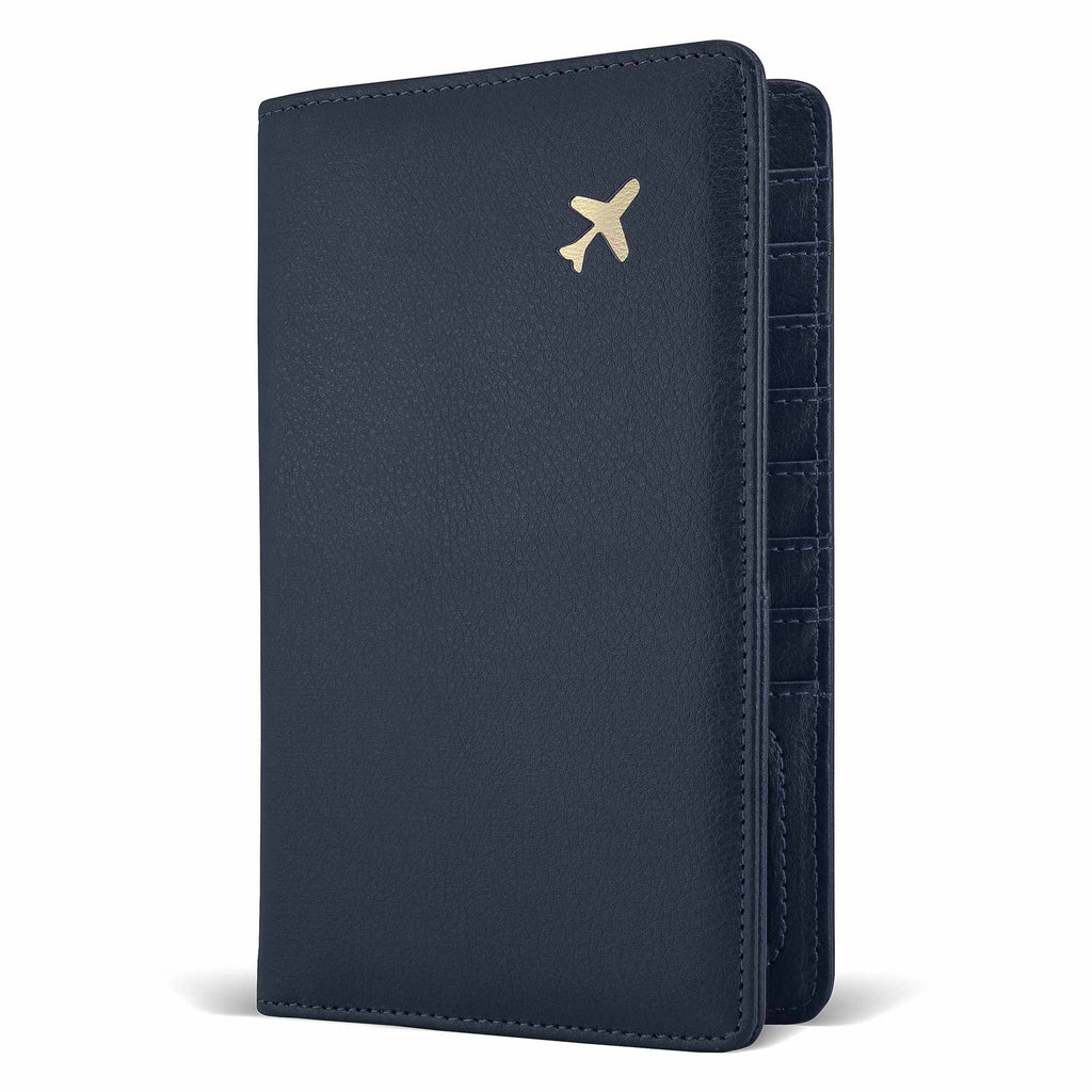 Navy leather multiple passport holder with gold plain shape on the front vertical travel wallet
