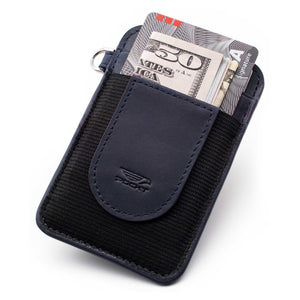 Slim navy credit card holder displaying money credit cards on the front pocket