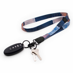 Multi color navy orange neck lanyard with keychain keys and car key
