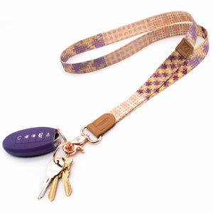 Multi color neck lanyard pink violet cream purple colors with keys and car key