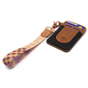 Multi color hand wrist lanyard pink violet cream purple colors with keys and brown leather slim wallet