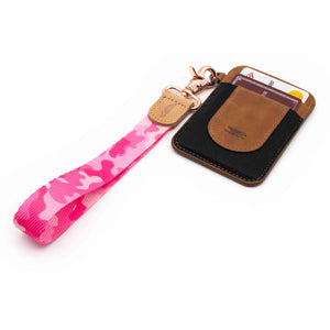 Pink camo hand wrist lanyard with keys and slim keychain wallet
