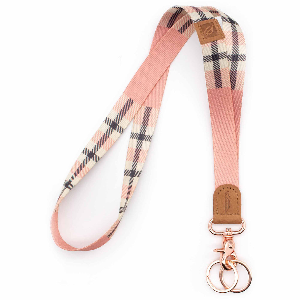 Neck lanyard pink plaid pattern brown leather hardware rose gold metal clasp with 2 key rings