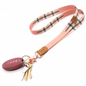 Pink cream plaid neck lanyard with keys and car key