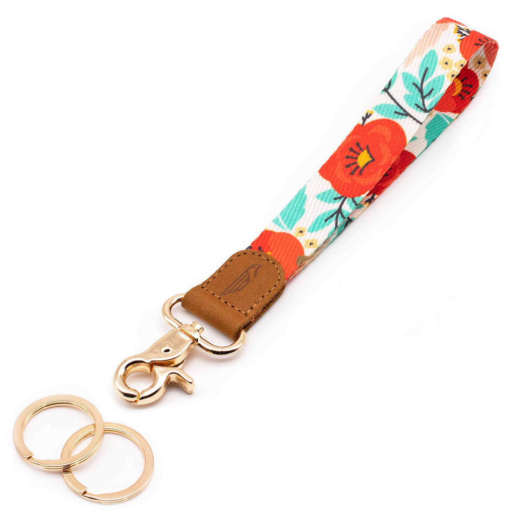 Wrist lanyard red blue poppy floral design brown leather hardware gold metal clasp with 2 key rings