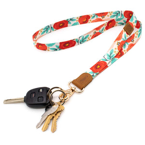 Multicolor poppy neck lanyard red orange blue colors with keys and car key