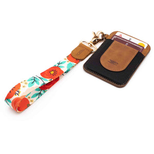Red blue poppy floral patterned wrist lanyard with brown slim keychain wallet