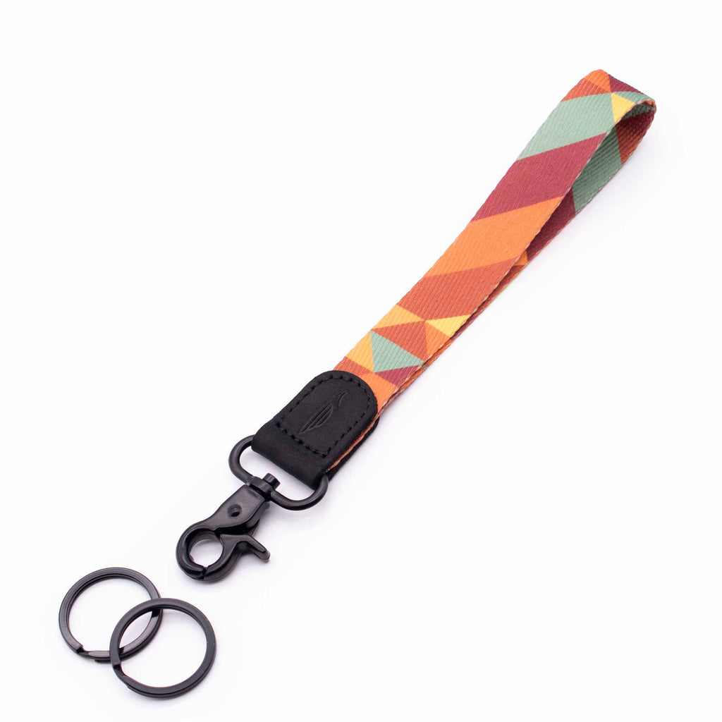 Hand wrist lanyard orange yellow mint red retro colors with black leather hardware metal clasp with 2 black key rings