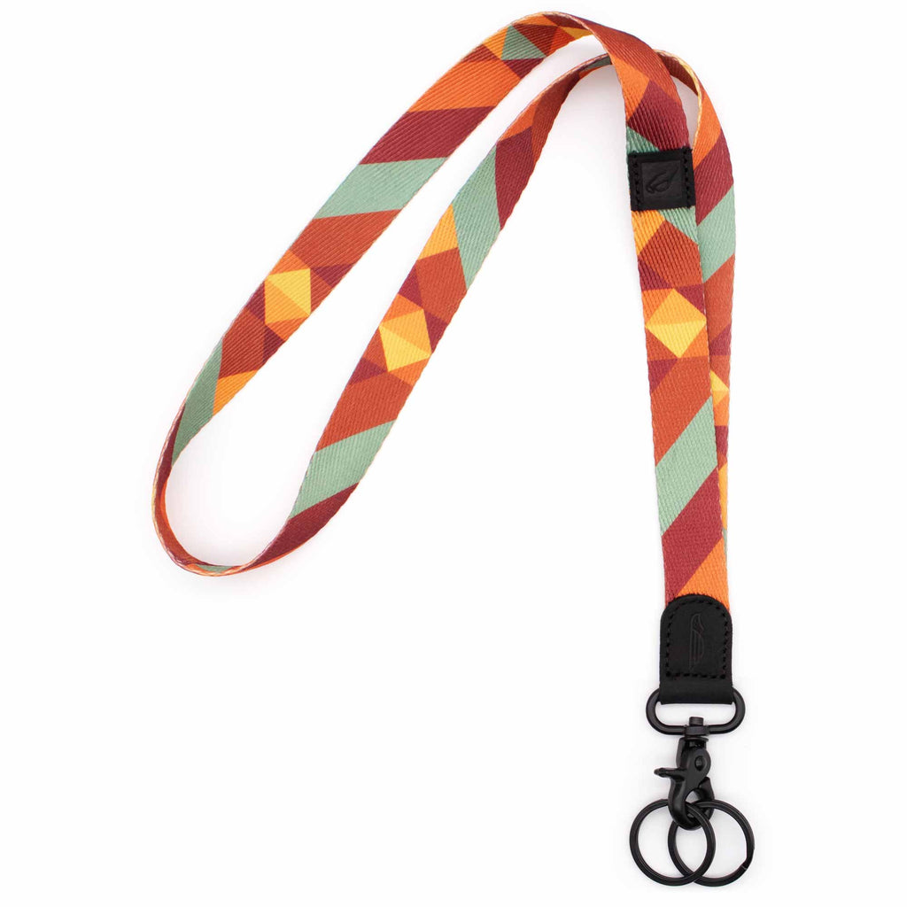 Neck lanyard orange yellow mint red retro colors with black leather hardware metal clasp with 2 black key rings