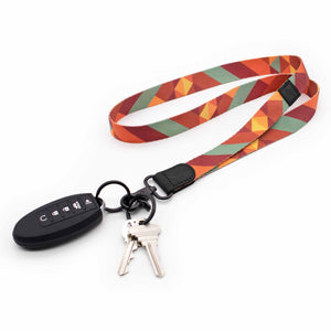 Multi color neck lanyard with retro pattern with keys and car key