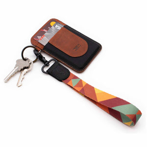 Multi color hand wrist lanyard with retro pattern with keys and cognac brown slim wallet
